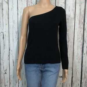 St. John Evening Black One Shoulder Sweater Shirt